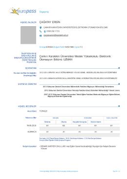 Europass CV - Meslek Yüksekokulu - Çankırı Karatekin Üniversitesi
