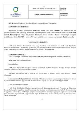 47. komisyon raporu - Ordu Büyükşehir Belediyesi