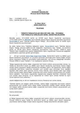Dahilde İşleme Rejimi hk. 31 Ekim 2014