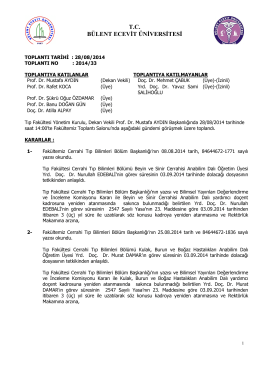 28/08/2014 Tıp Fakültesi Yönetim Kurulu Kararı