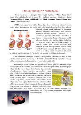 6 mayıs 2014 dünya astım günü - Tekirdağ Halk Sağlığı Müdürlüğü
