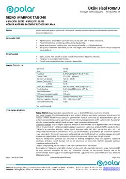 ÜRÜN BİLGİ FORMU 58240 MARPOX TAR-240