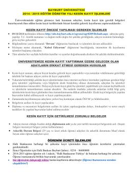 BAYBURT ÜNİVERSİTESİ 2014 / 2015 EĞİTİM ÖĞRETİM YILI