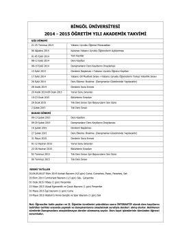 2014-2015 Akademik Takvim
