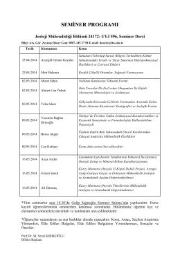 seminer programı - İTÜ JEOLOJİ MÜHENDİSLİĞİ BÖLÜMÜ Ana Sayfa