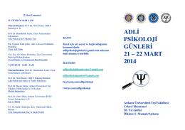 adli psikoloji günleri 21 – 22 mart 2014