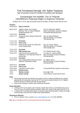Türk Farmakoloji Derneği, XXI. Eğitim Toplantısı
