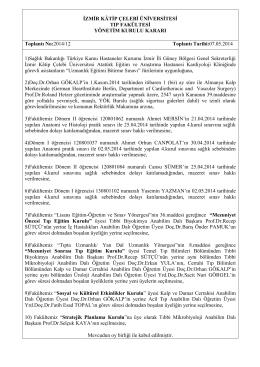 YKK.07.05.2014 - İzmir Kâtip Çelebi Üniversitesi :: Tıp Fakültesi