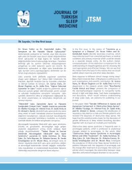 JOURNAL OF TURKISH SLEEP MEDICINE