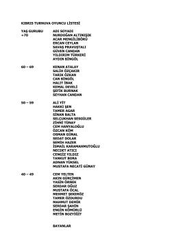kıbrıs turnuva oyuncu listesi yaş gurubu adı soyadı +70 nurdoğan