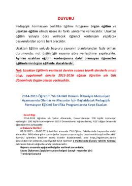 Pedagojik Formasyon Sertifika Programı