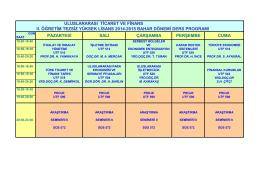 Uluslararası Ticaret ve Finans Tezsiz (II. Öğretim)