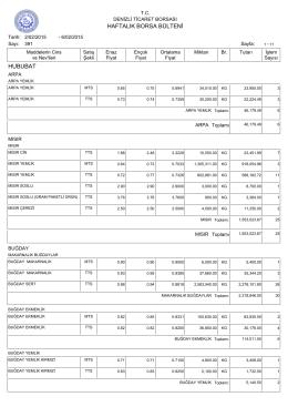 6 Şubat Haftalık Bülten - Denizli Ticaret Borsası