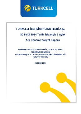 3. Çeyrek 2014 Faaliyet Raporu