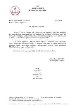 Toplantı Onayı - Kilis Milli Eğitim Müdürlüğü