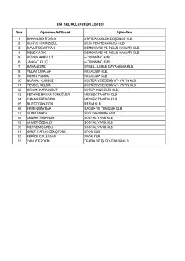 Eğitsel Kol Kulüp Öğretmen Listesi