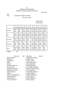 Sayı : Konu : Haftalık Ders Dağıtım Programı 1 09:00 2 09:50 3 10:40