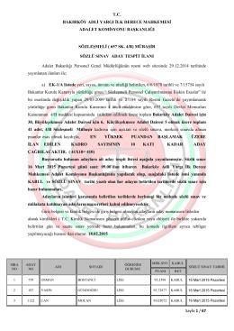 sözleşmeli mübaşir aday tespit listesi ilanı 18.02.2015