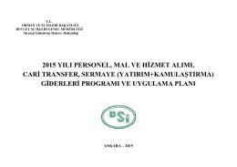 2015 Mali Yılı Personel, Mal Ve Hizmet Alımı, Cari Transfer, Sermaye