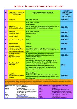 Hizmet Standartlarımız - Milli Eğitim Bakanlığı