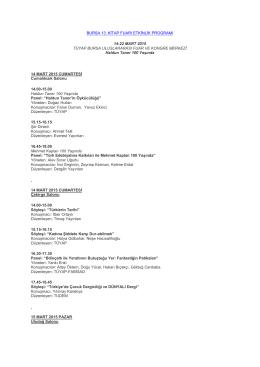Bursa 13. Kitap Fuarı Etkinlik Programı