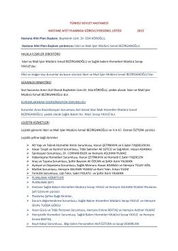 TÜRKELİ DH Afet planı görevli listesi