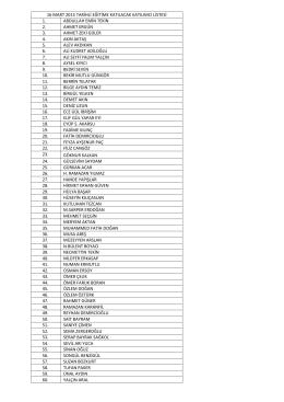 16 Mart 2015 tarihli Eğitim Katılımcı Listesi