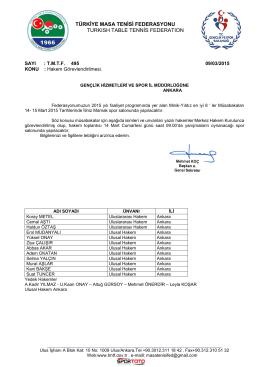 Hakem Görevleri Dosyası - Türkiye Masa Tenisi Federasyonu