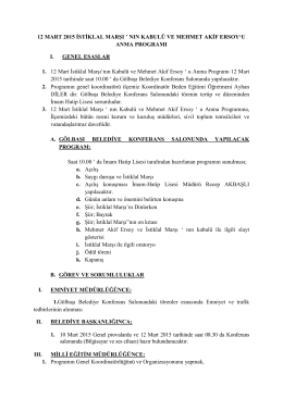 12 mart 2015 istiklal marşı ` nın kabulü ve mehmet akif ersoy`