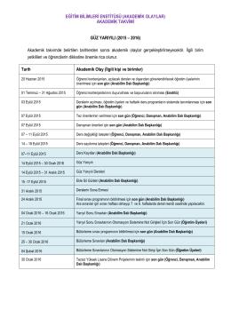 2015-2016 Öğretim Yılı Akademik Takvim
