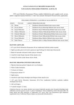 Manavgat Belediye Başkanlığı Sözleşmeli Teknik Personel Alım İlanı