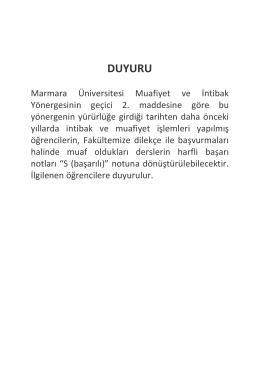 DUYURU - Marmara Üniversitesi