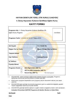kayıt formu - Acıbadem Üniversitesi