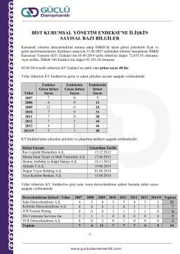 KY Endeksi Sayısal Notlar 5 Eylül 2014