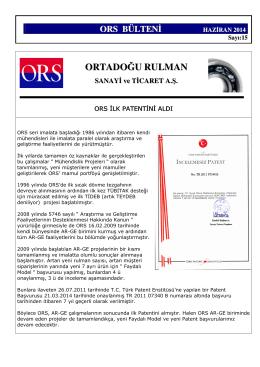 ORS Bülteni Sayı 15