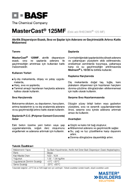 MasterCast® 125MF (Eski adı RHEOMIX® 125 MF) Akrilik