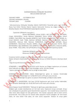 2014 yılı temmuz ayı meclis karar özeti
