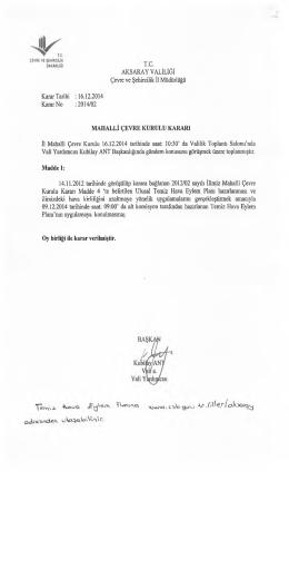 mahalli çevre kurulu kararı 2014-2