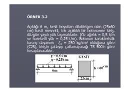 ÖRNEK 3.2 Açıklığı 6 m, kesit boyutları dikdörtgen olan (25x60 cm