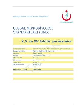 X, V ve XV faktör gereksinimi