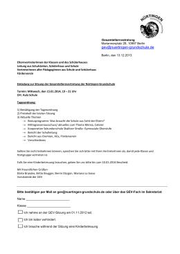 Einladung und Tagesordnung - bei der Nürtingen