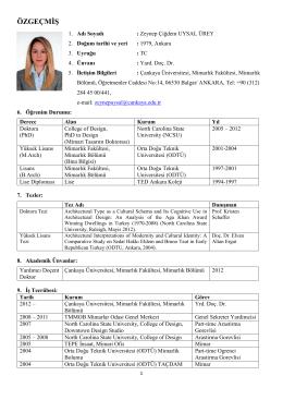 CV - Mimarlık Bölümü - Çankaya Üniversitesi