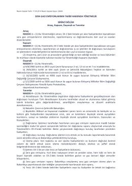 Sera Gazı Emisyonlarının Takibi Hakkında Yönetmelik [RG:29003