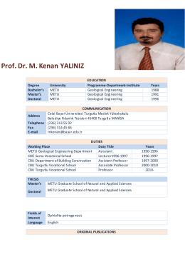 Prof. Dr. M. Kenan YALINIZ