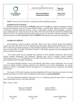 KONU: Fatsa ilçesi M.K.Paşa Mah. Uygulama İmar Planı değişikliği