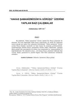 hakas şamanizmi/dünya görüşü - sibirya araştırmaları dergisi