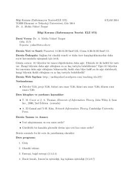 Bilgi Kuram (Enformasyon Teorisi- ELE 572