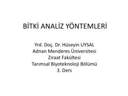 BİTKİ ANALİZ YÖNTEMLERİ - Adnan Menderes Üniversitesi