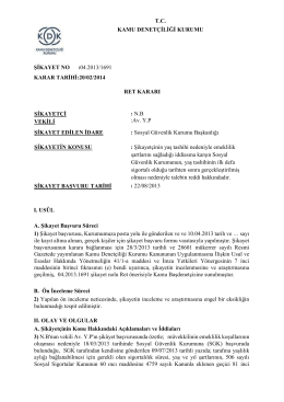 T.C. KAMU DENETÇİLİĞİ KURUMU ŞİKAYET NO :04.2013/1691
