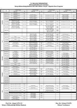 2013-2014 Yılı Bahar Dönemi Ders Programı (I.Ö)